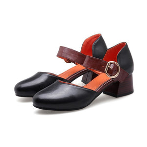 Summer Toe Covered Chunky Mid Heel Sandals for Women Shoes MF5506