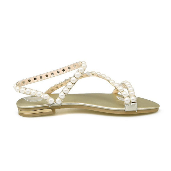 Summer Genuine Leather Pearl Flats Sandals for Women Shoes MF8288