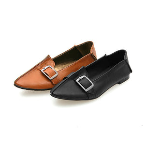 Pointed Toe Buckle Soft Leather Women Flat Shoes 6398