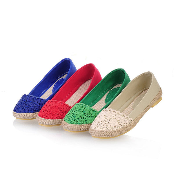 Linen Women Flat Jelly Shoes 8896