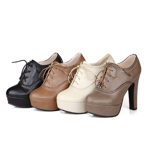 Lace Up Platform Chunky High Heel Shoes Woman 7860