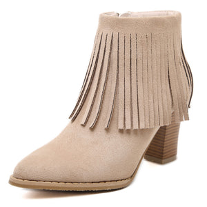 Pointed Toe Suede Tassel Zip High Heels Boots 1510