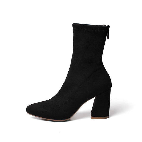 Pointed Toe Elastic Velvet Mid Calf Boots Chunky Pumps Heels 3457