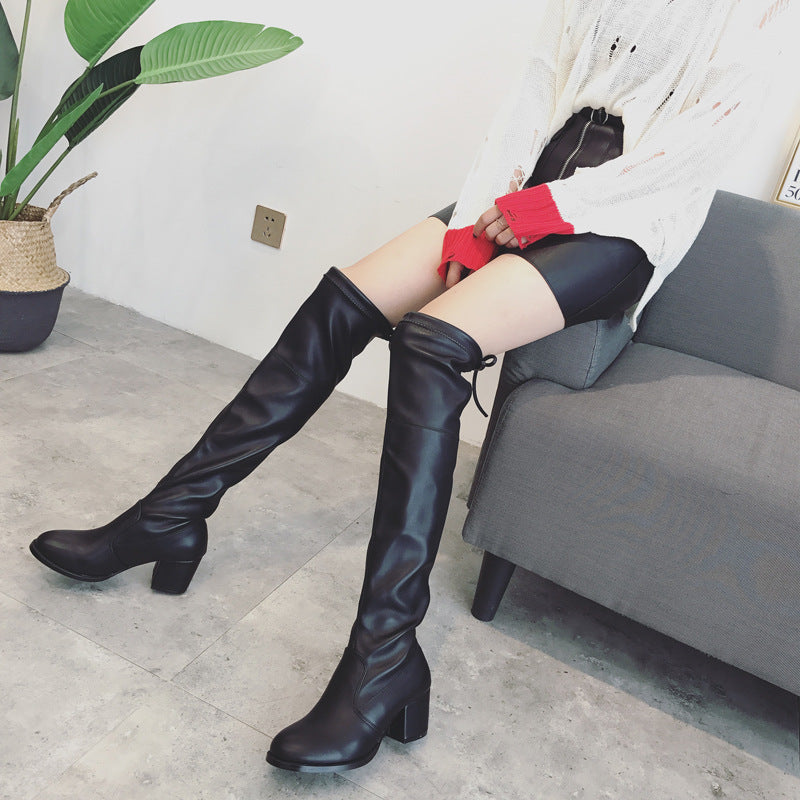 Slim Fitting Black Over the Knee Boots for Women 7158