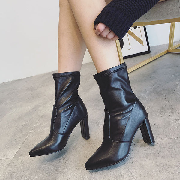 Pointed Toe Elastic High Heels Mid Calf Boots 1340