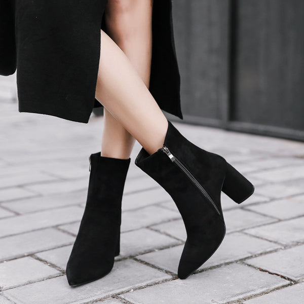 Pointed Toe Suede Side Zipper High Heeled Boots 8397