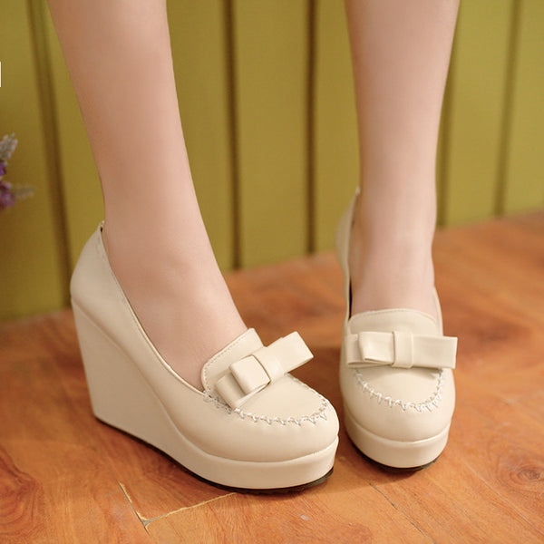 Bow Tie Ankle Straps High Heeled Wedges Shoes for Women 2311