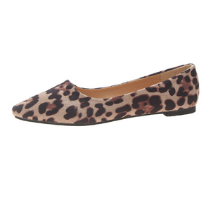 Pointed Toe Leopard Print Suede Women Flat Shoes 8854