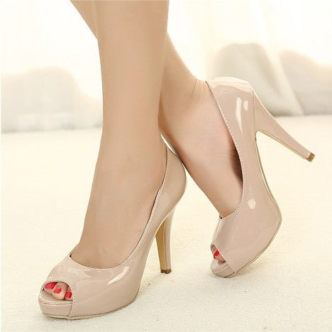 Peep Toe Patent Leather Women Pumps High Heels 6737