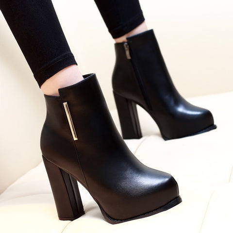 Black Zip Metal High Heels Platform Ankle Boots 3963