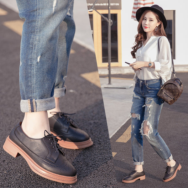 Lace Up Carving Women Oxford Shoes Low Heels 3864