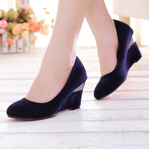 Women's Velvet High Heel Pumps Wedges Shoes 6112