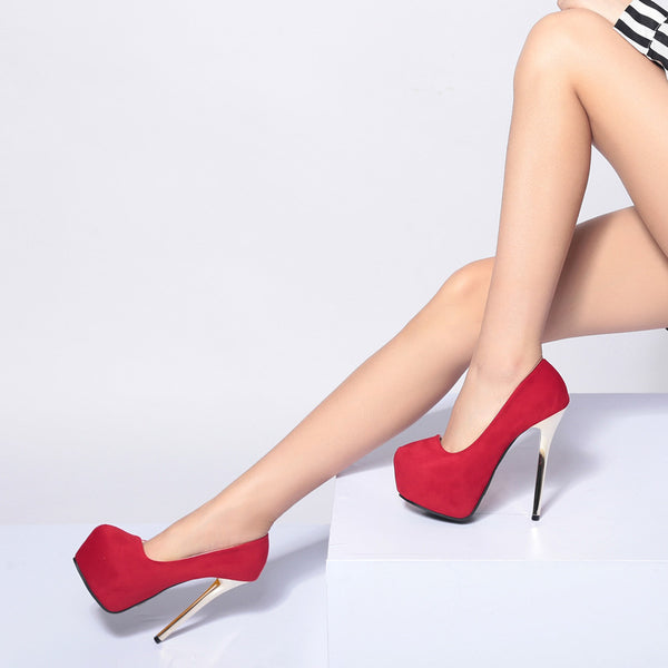 Faux Suede Platform Pumps Ultra High Heels Stiletto Heel 4163