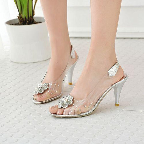 Women's Rhinestone Flower High Heels Sandals Dress Shoes for Summer 6955