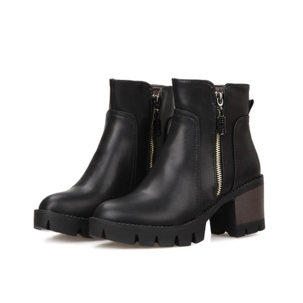 Side Zip Faux Leather Ankle Boots Rubber Sole 7436