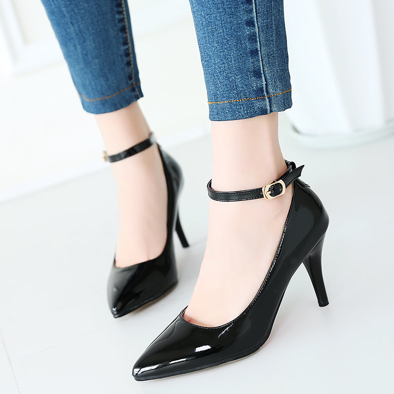Ankle Straps Pumps Pointed Toe High Heels 1747