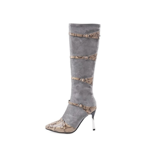 Buckle Belt Woman's Stiletto Tall Boots Shoes