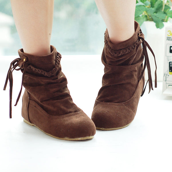Women Suede Tassel Short Boots Plus Size Autumn and Winter Shoes 4098