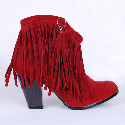 Women Tassel High Heels Short Boots Plus Size Autumn and Winter Shoes 5924