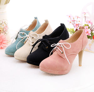 Lace Up Platform High Heel Shoes Woman 4038