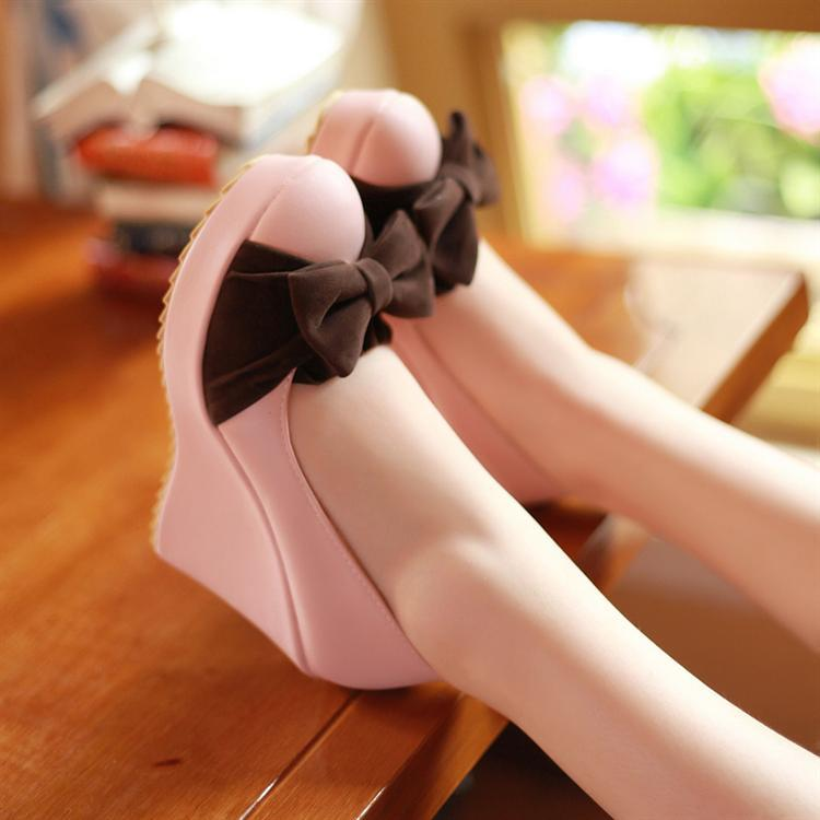 Bow Tie Platform Wedges Heels Shoes for Women 9617