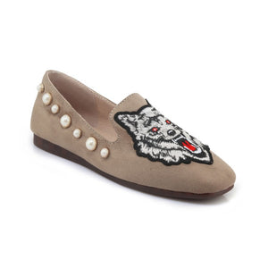 Tiger Printed Pearl Women Flats Shoes MF6037