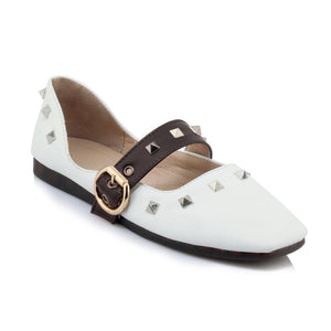 Square Toe Studded Flat Shoes for Women MF6170