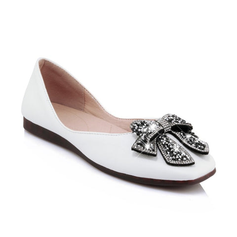 Rhinestone Bow Square Toe Women Flats Shoes MF2917