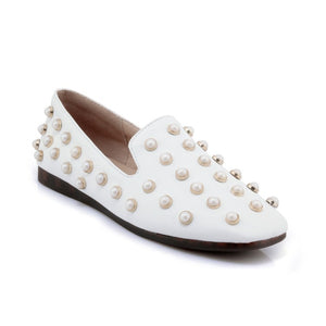 Soft Leather Pearl Women Flats Shoes MF5767