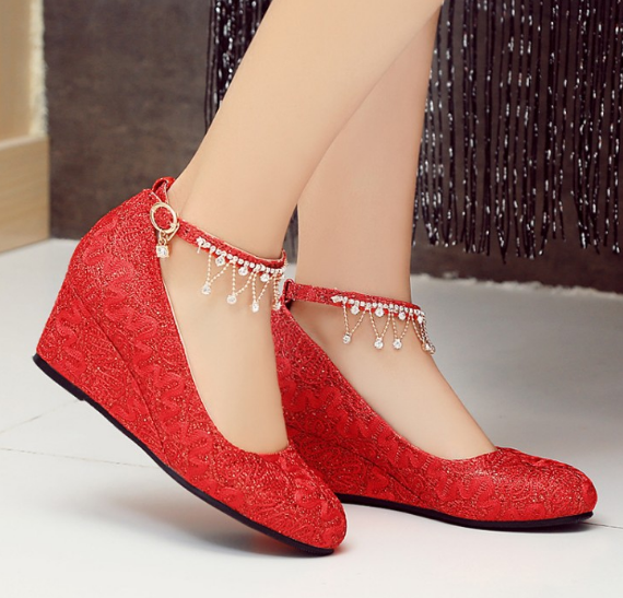 Ankle Strap Rhinestone Platform Wedges Heels Wedding Shoes for Women