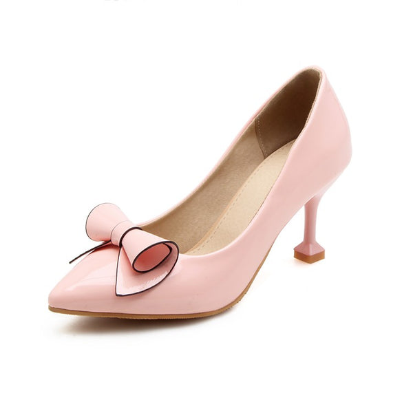 Pointed Toe Bow Tie High Heeled Shoes for Women 7862