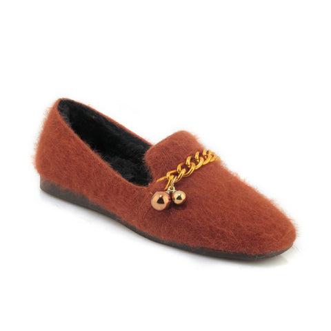 Chain Slip On Loafers Women Flats Shoes MF7550