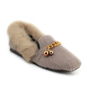 Rabbit Fur Chains Women Flats Shoes MF8032