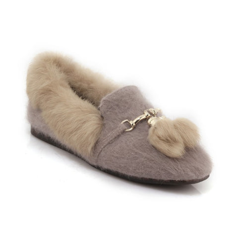 Slip On Rabbit Fur Women Flats Shoes MF8846