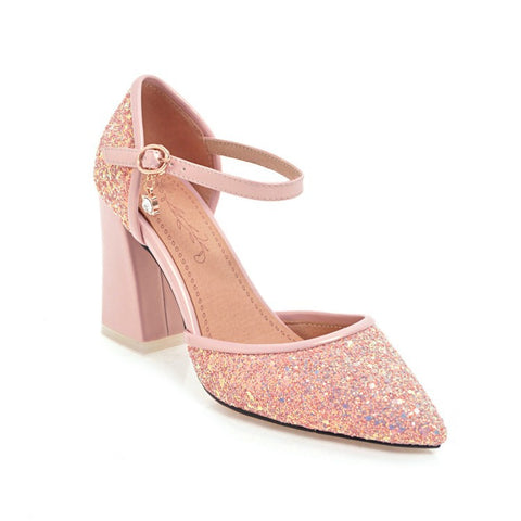Pointed Toe Sequin Ankle Straps Women High Heels Sandals Shoes MF1204