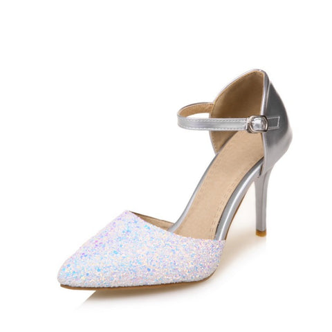 Women Pointed Toe Glitter Ankle Straps High Heels Sandals Wedding Shoes MF3767