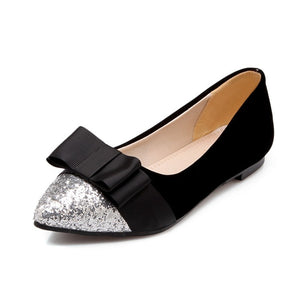 Pointed Toe Sequin Bow Flat Shoes for Women MF5147
