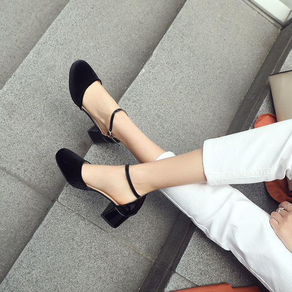 Women Ankle Straps Mid Heels Chunky Sandals Shoes MF9246