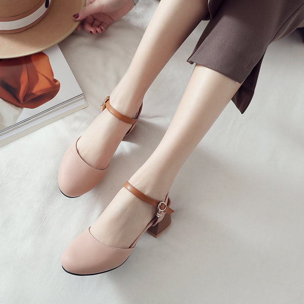 Women Ankle Straps Chunky Heels Sandals Shoes MF8455