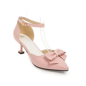 Women Pointed Toe Bow Tie Mid Heels Sandals Shoes MF8824