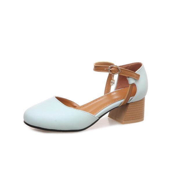 Women Chunky Heels Mary Janes Sandals Shoes MF9859