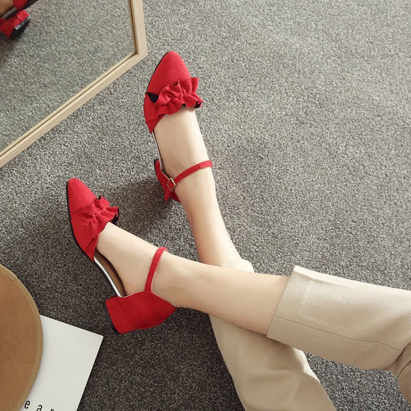 Women Ankle Straps Flower Low Heels Sandals Shoes MF4897