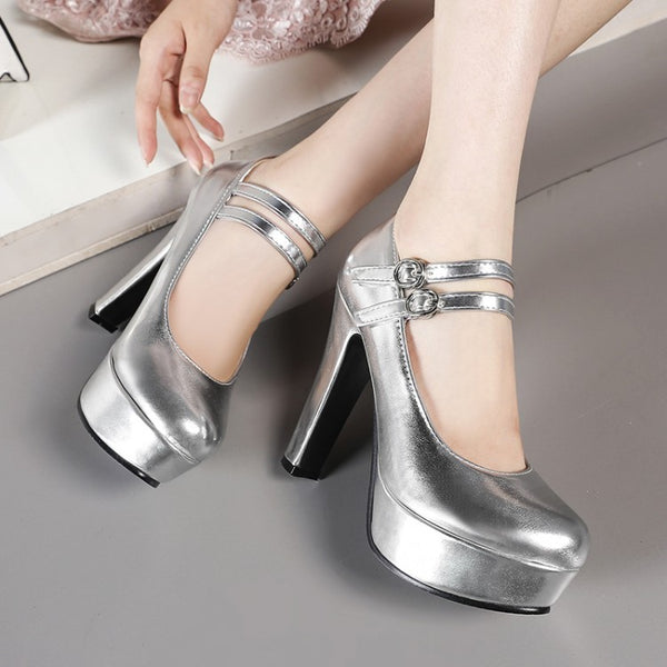 Double Straps Platform Pumps High Heel Shoes MF9186