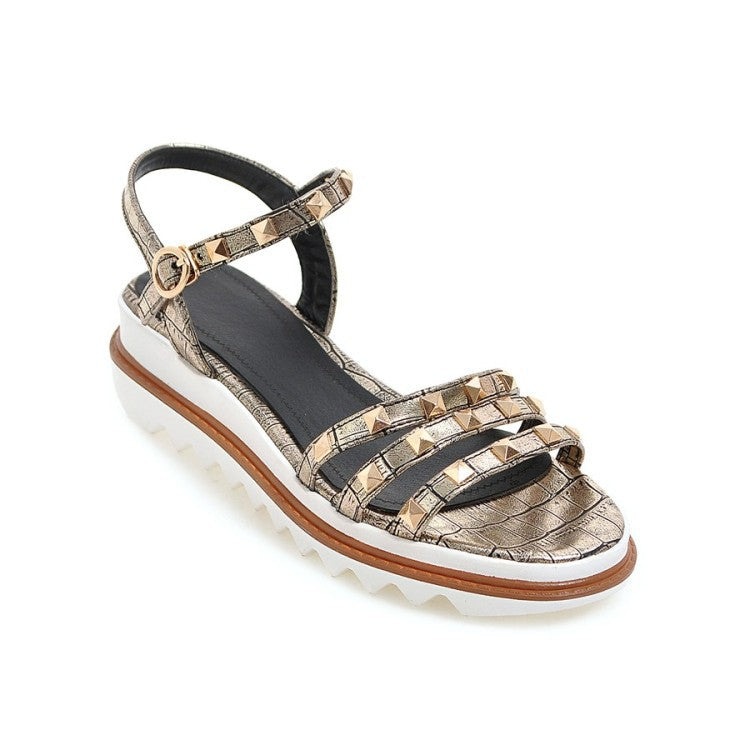 f3454b5f7 Women Studded Flats Platform Sandals Shoes MF1434 – meetfun