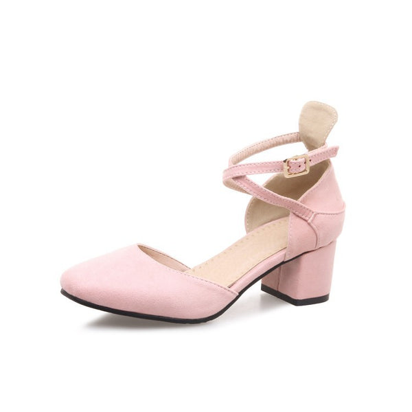 Women Ankle Straps Chunky Heels Sandals Shoes MF9220