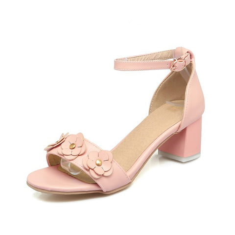 Women Flower Chunky Mid Heels Sandals Shoes MF8194