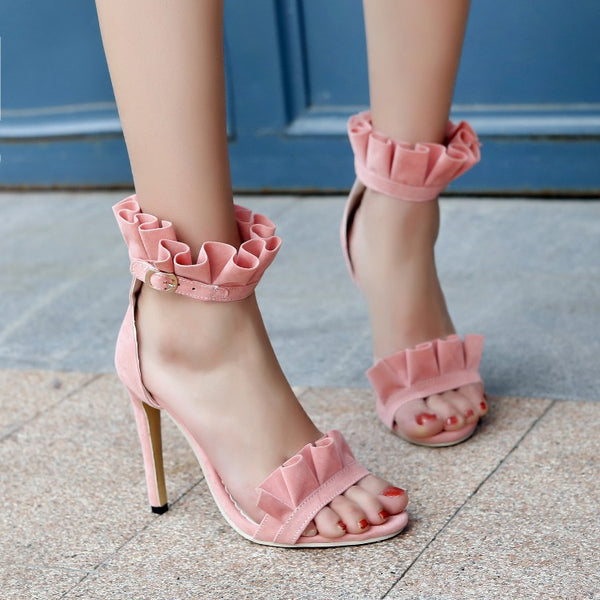 Women Flower Ankle Straps High Heels Sandals Shoes MF8523