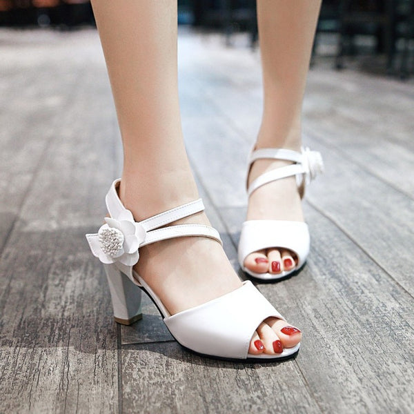 Flower Cross Straps Open Toe Pumps Women Mid Heels Sandals Shoes MF2202