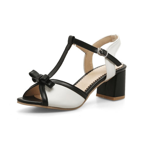 T Straps Knot Women Mid Heels Sandals Shoes MF4822