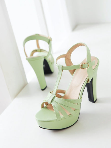 Women T Straps High Heels Platform Sandals Shoes MF4187